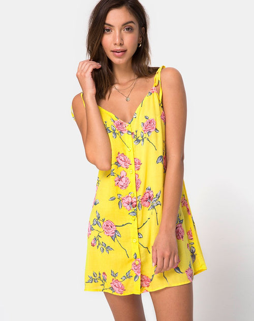Osla Slip Dress in Candy Rose Yellow by Motel