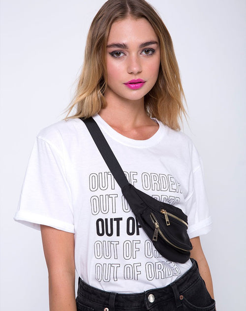 Oversize Basic Tee in Out of Order  White by Motel