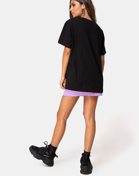 Oversize Basic Tee in Black with Angel Embro by Motel