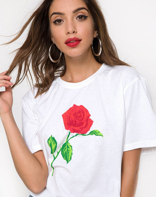 Oversize Basic Tee in White with Rose by Motel