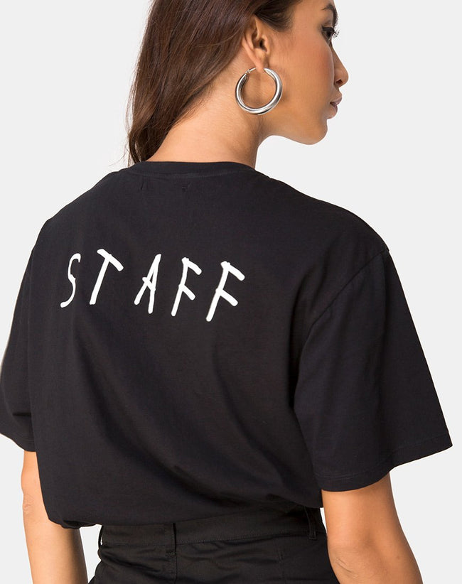 "Oversize Black Tee in Black on Tour ""staff"" by Motel"