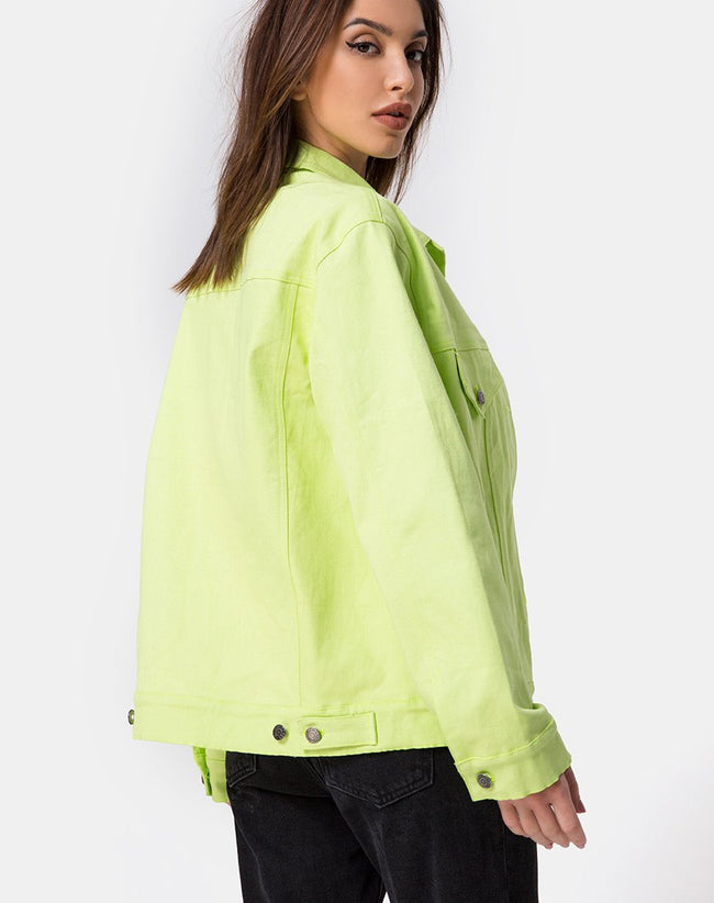 Oversize Denim Jacket in Lime by Motel