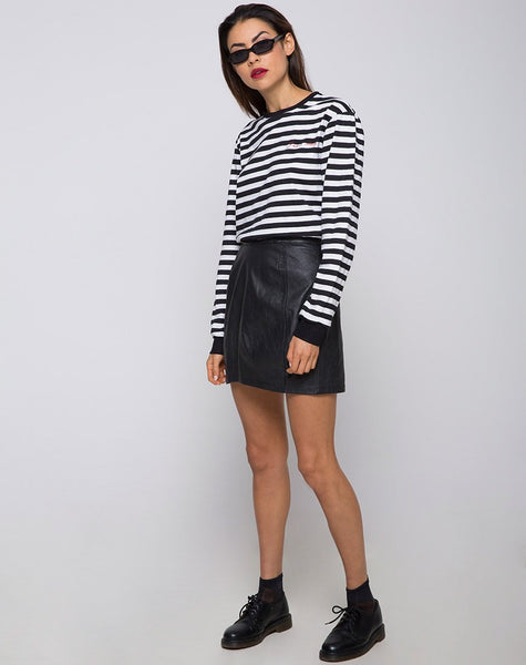 Oversize Longsleeve Tee in I Want Change BW Stripe by Motel