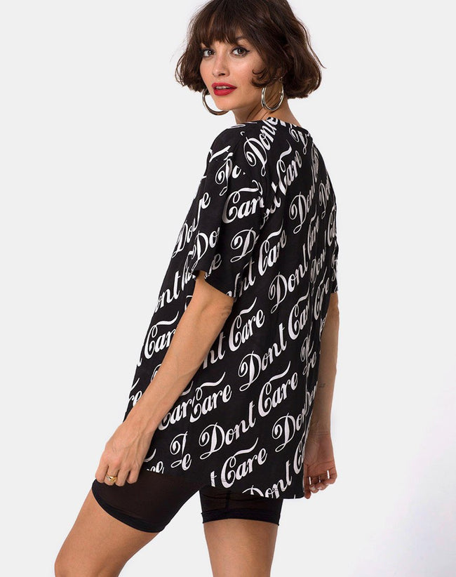 Oversize Basic Tee in Black Don't Care Full Print by Mote