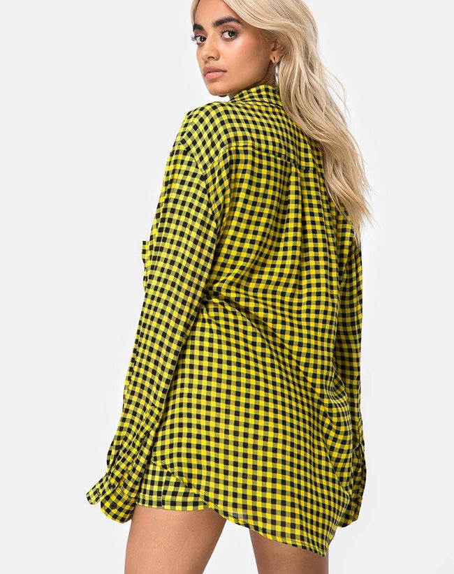 Oxford Shirt in Medium Gingham Yellow By Motel