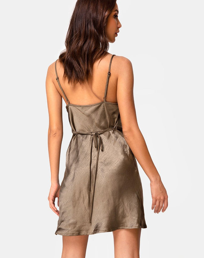Paiva Slip Dress in Satin Khaki by Motel