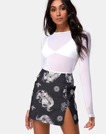 Wave Skirt in PU Croco Black by Motel