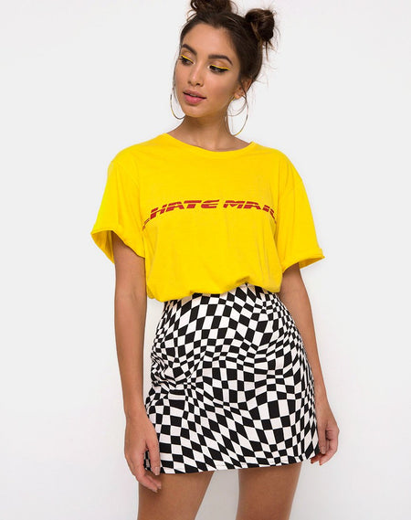 Kimber Bodycon Skirt in Medium Gingham Yellow by Motel