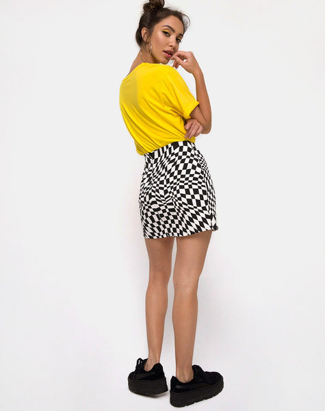 Pelmo Mini Skirt in Square Flag Black and White by Motel