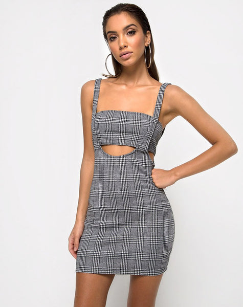 Petra Bodycon Dress in Charles Check Grey