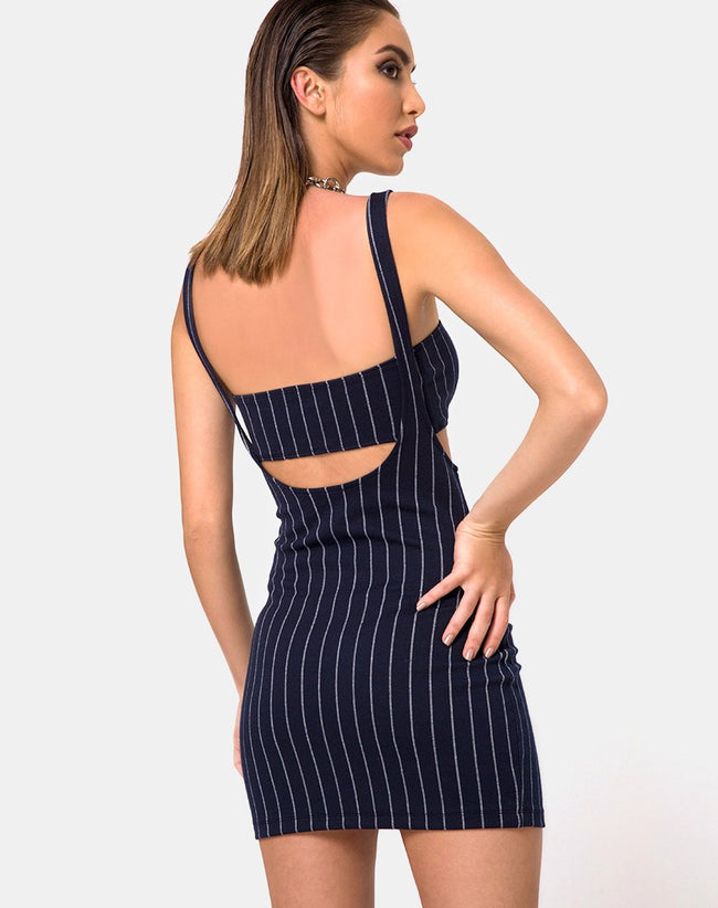Petra Mini Dress in Navy Pinstripe by Motel