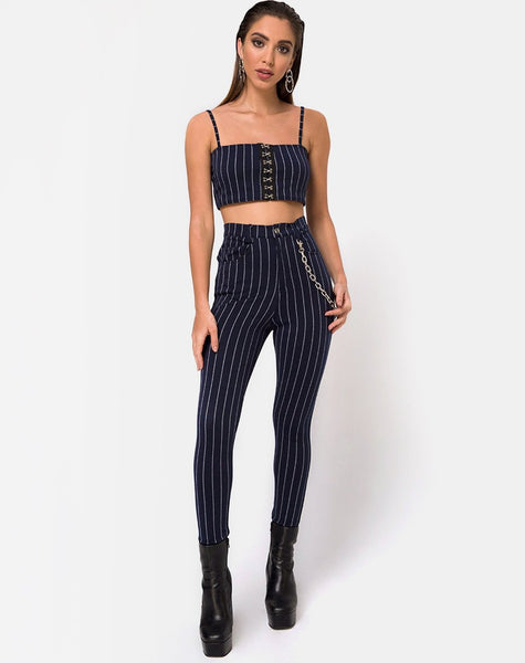 Pin Pants in Navy Pinstriped