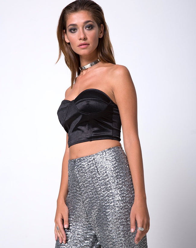 Prague Trouser in Mini Cluster Sequin Silver by Motel
