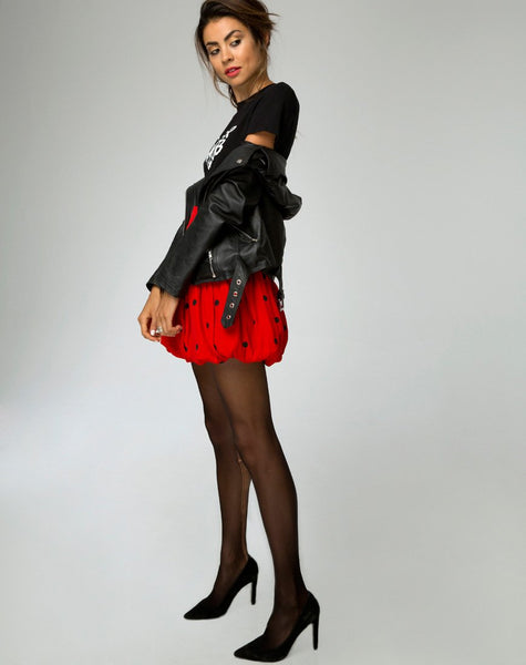 Puff Ball Skirt in Polkadot Red and Black