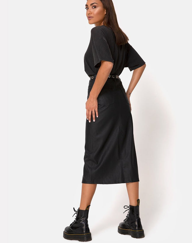 Pyra Midi Skirt in PU Black by Motel