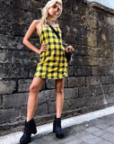 Lura Slip Dress in Winter Plaid Yellow By Motel