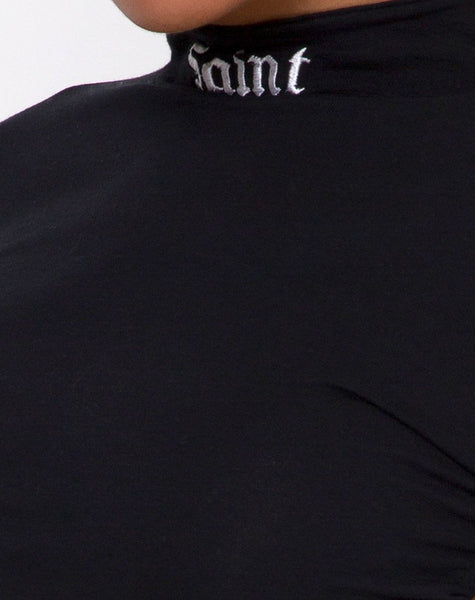Quelia Crop Top in Black with 'Saint' Embro by Motel