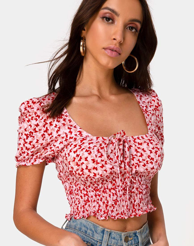 Raquel Crop Top in Ditsy Butterfly Peach and Red by Motel