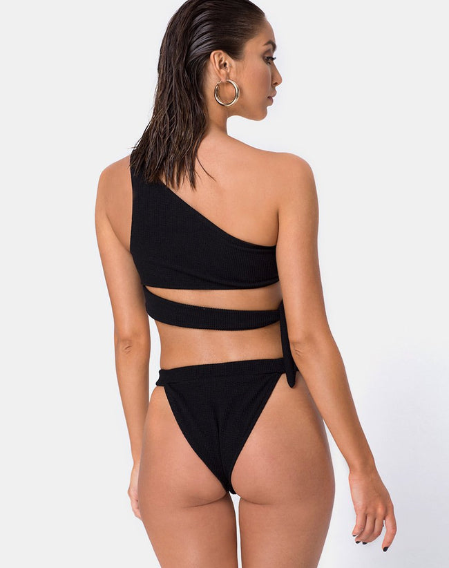 Rawlins Bikini Bottom in Crinkle Rib Black by Motel