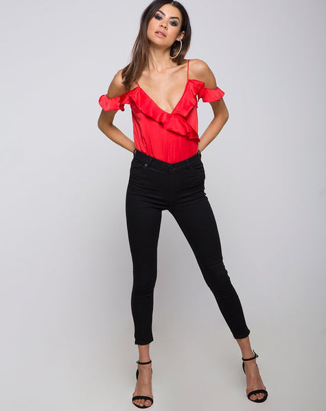 Reilly Cold Shoulder Bodice in Red by Motel