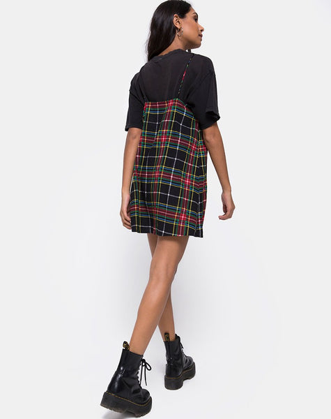 Sanna Slip Dress in Plaid Red Green Yellow and Black by Motel
