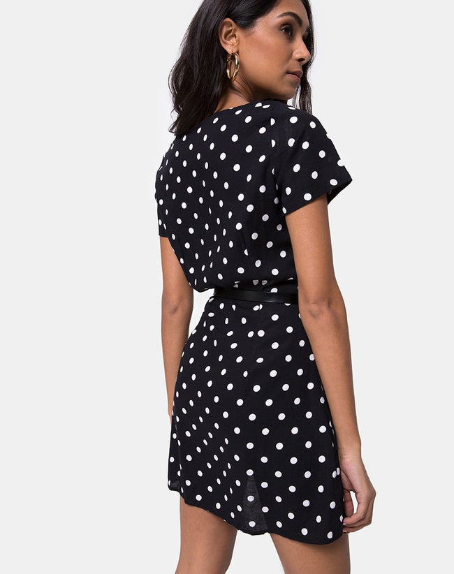 Zavacca Tea Dress in Medium Polka Black and White by Motel