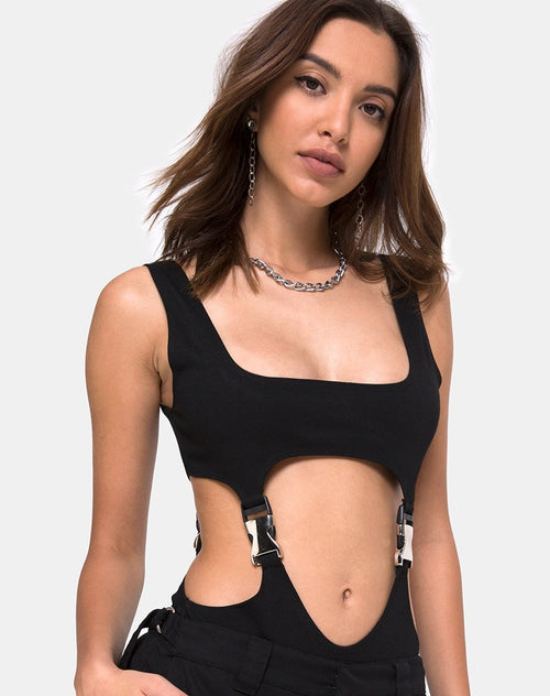 Rezya Bodice in Black with Silver Buckles by Motel