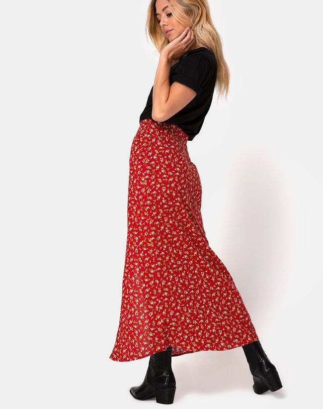Rima Skirt in Falling For You Floral Red by Motel