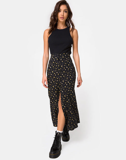Rima Maxi Skirt in Pretty Petal Black by Motel