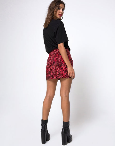 Ring Mini Skirt in Coloured Animal by Motel