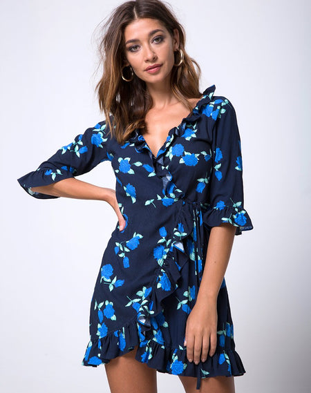 Riser Skater Dress in Spot and Stripe Navy by Motel