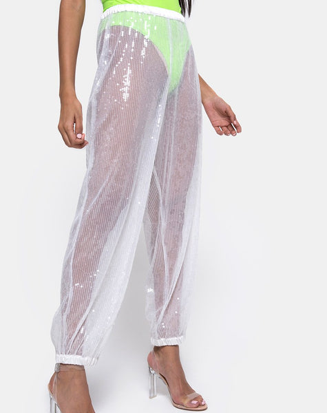 Roid Trouser in Sheer White Clear Crystal by Motel
