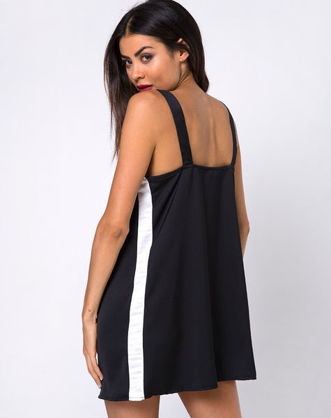 Rona Slip Dress in Black with Ivory Stripe by Motel