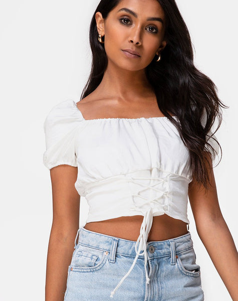 Ruiz Off The Shoulder Top in Satin Ivory by Motel
