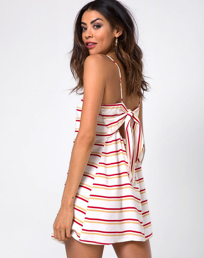 Sagra Slip Dress in 70's Ivory Horizontal Stripe by Motel