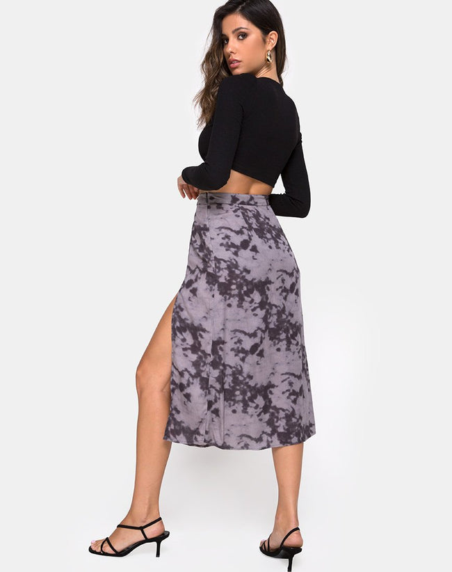 Saika Midi Skirt in Bleached Tie Dye Grey by Motel