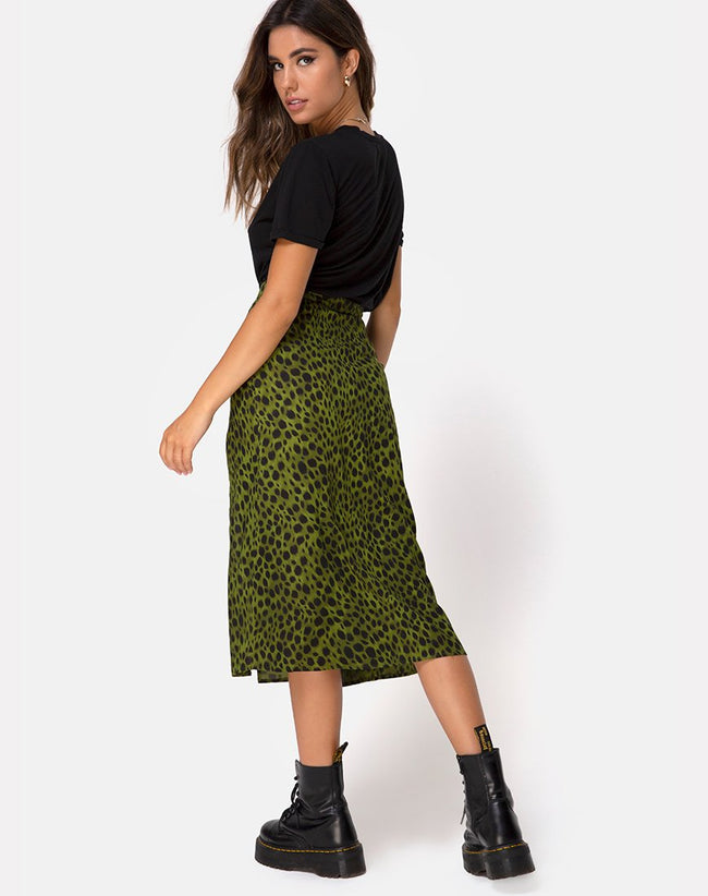 Saika Midi Skirt in Cheetah Khaki by Motel