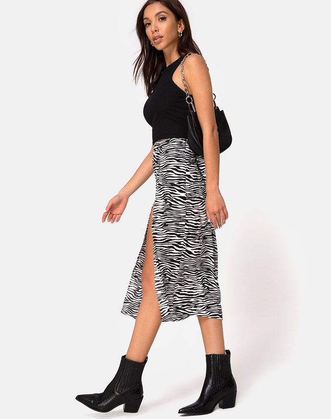 Saika Midi Skirt in Classic Zebra by Motel