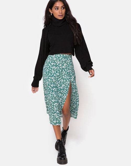 Saika Midi Skirt in Floral Field Green