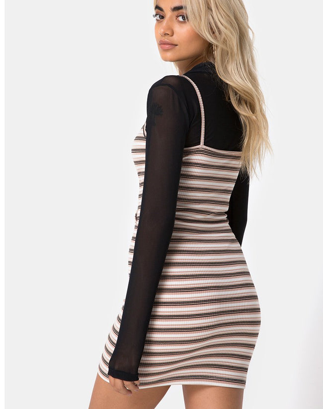 Saleh Bodycon Dress in Rib Stripe Cream Black and Tan by Motel