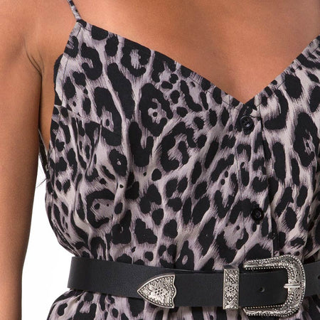 Sanna Slip Dress in Leopard Grey by Motel