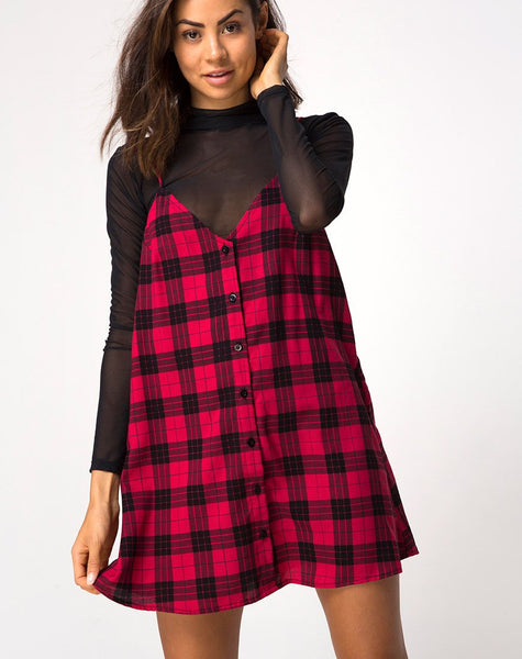 Sanna Dress in Winter Plaid Red and Black by Motel