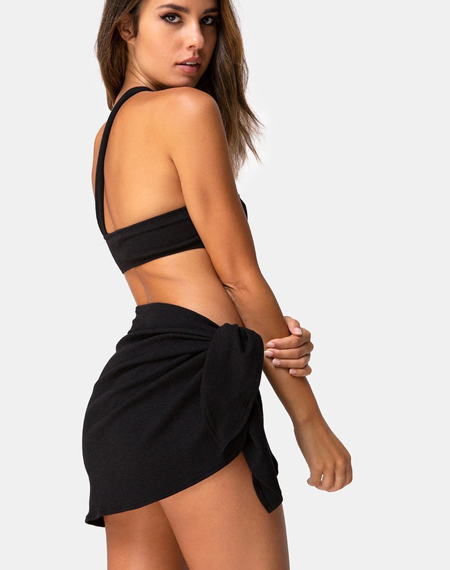 Sarong Swim Skirt in Black Mini Rib by Motel