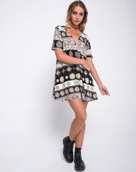 Sasena Swing Dress in Eclipse Repeat by Motel