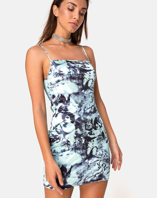 Saleh Bodycon Dress in Mint Cherub by Motel