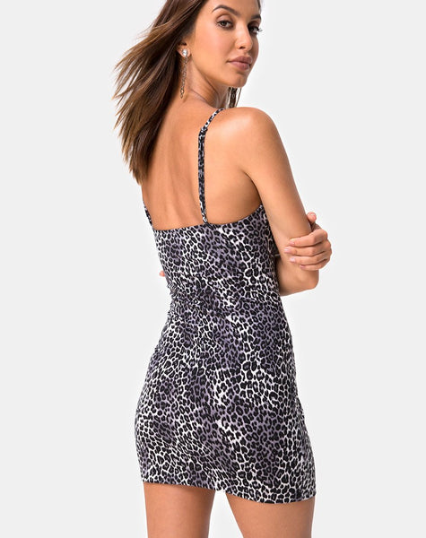 Selah Bodycon Dress in Rar Leopard Grey by Motel