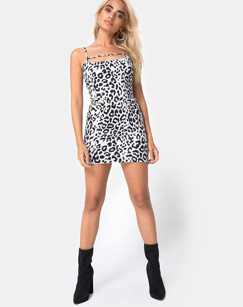 Selest Bodycon Dress in Mono Animal Grey and White by Motel
