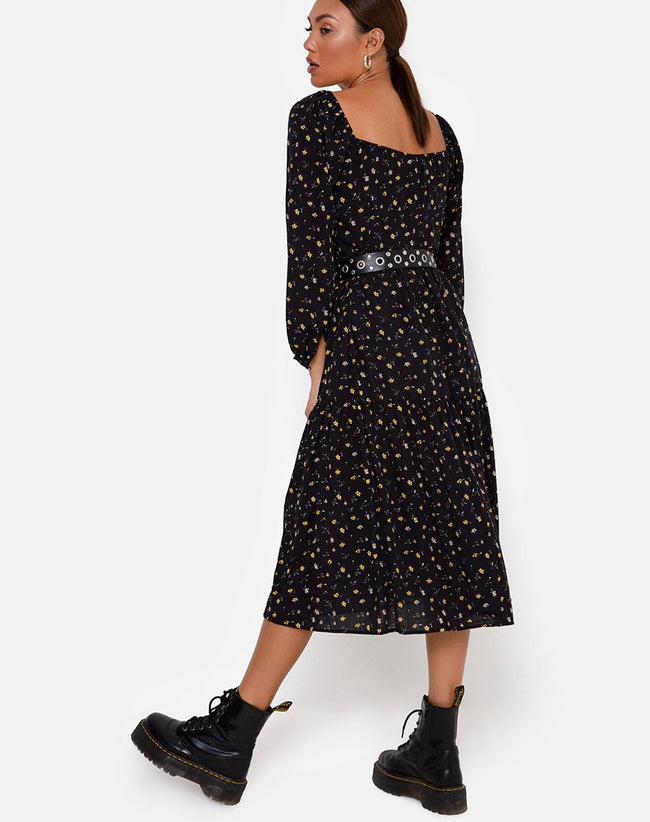 Senora Dress in Pretty Petal Black by Motel
