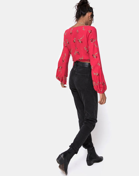 Sepra Wrap Top in Rouge Rose Pink by Motel