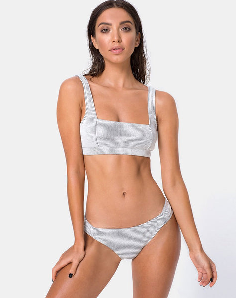 Shani Bikini Bottom in Crinkle Rib White by Motel